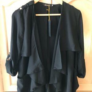 Draped trench jacket